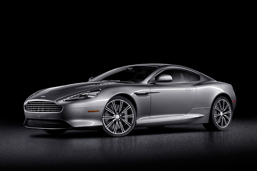AUT 06 BK0003 01 © Kimball Stock 2012 Aston Martin DB9 Gray 3/4 Front View In Studio