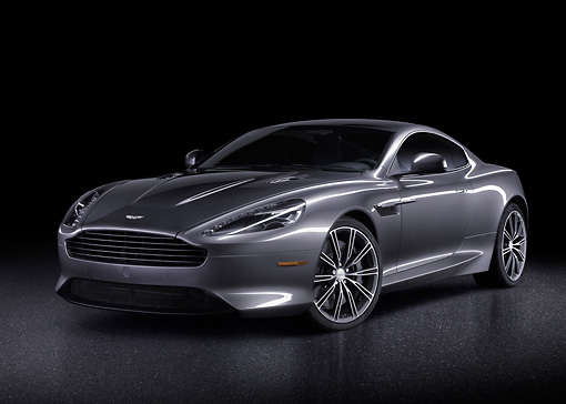 AUT 06 BK0006 01 © Kimball Stock 2012 Aston Martin DB9 Gray 3/4 Front View In Studio