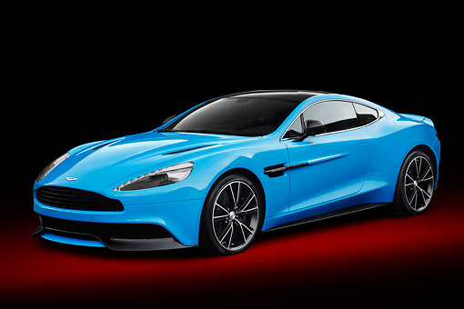 AUT 06 BK0010 01 © Kimball Stock 2013 Aston Martin Vanquish Blue 3/4 Front View In Studio