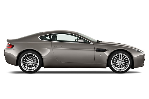 AUT 06 IZ0001 01 © Kimball Stock 2013 Aston Martin Vantage V8 Coupe Gray Profile View On White Seamless