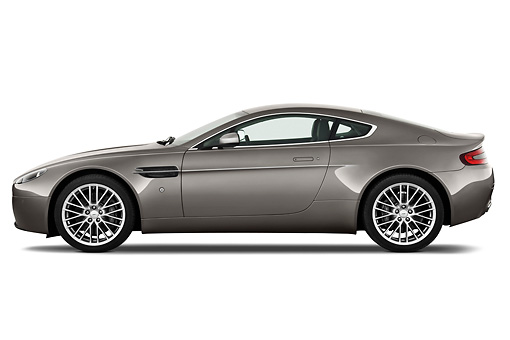 AUT 06 IZ0002 01 © Kimball Stock 2013 Aston Martin Vantage V8 Coupe Gray Profile View On White Seamless