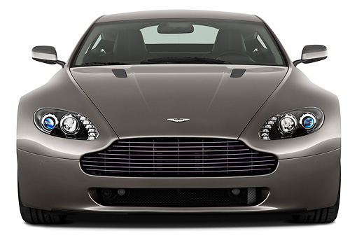 AUT 06 IZ0006 01 © Kimball Stock 2013 Aston Martin Vantage V8 Coupe Gray Front View On White Seamless