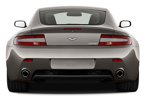 AUT 06 IZ0007 01 © Kimball Stock 2013 Aston Martin Vantage V8 Coupe Gray Rear View On White Seamless