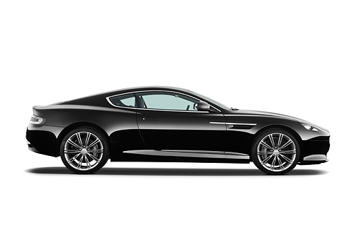 AUT 06 IZ0026 01 © Kimball Stock 2012 Aston Martin Virage Black Profile View On White Seamless