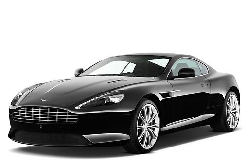 2012 Aston Martin Virage Black 3 4 Front View On White Seamless