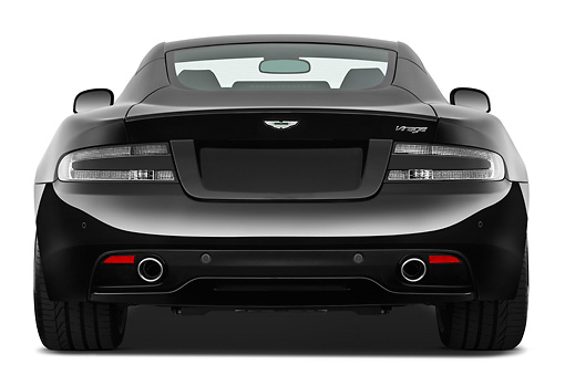 AUT 06 IZ0031 01 © Kimball Stock 2012 Aston Martin Virage Black Rear View On White Seamless