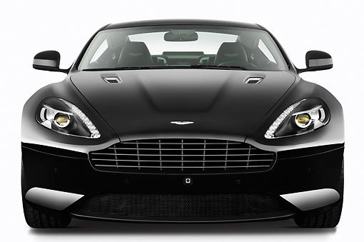 2012 Aston Martin Virage Black Front View On White Seamless
