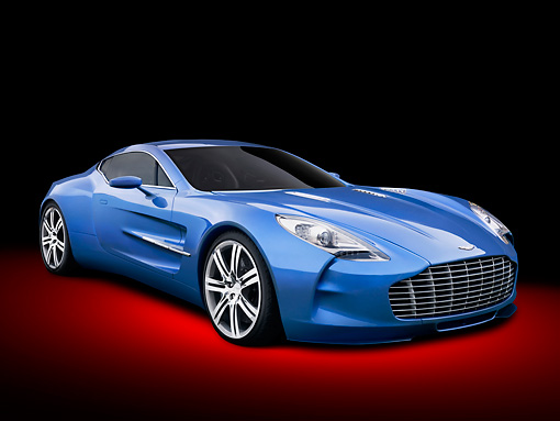 AUT 06 RK0134 01 © Kimball Stock 2010 Aston Martin One-77 Blue 3/4 Front View In Studio