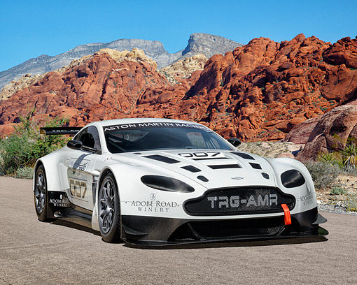 AUT 06 RK0191 01 © Kimball Stock 2015 Aston Martin Vantage GT3 Race Car 3/4 Front View In Desert