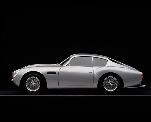 AUT 06 RK0028 02 © Kimball Stock 1962 Aston Martin DB4 GT Zagato Silver Side View On Gray Line Studio