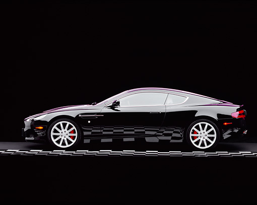 AUT 06 RK0066 04 © Kimball Stock 2005 Aston Martin DB9 Coupe Black Profile On Checkered Line Studio