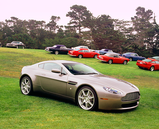 AUT 06 RK0073 15 © Kimball Stock 2006 Aston Martin DB7 Vantage Gray 3/4 Side View On Grass By Other Aston Martin Cars
