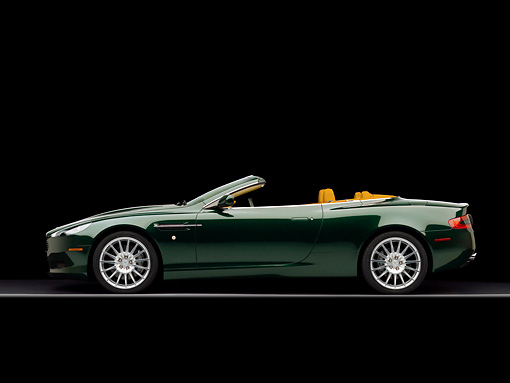 AUT 06 RK0090 01 © Kimball Stock 2006 Aston Martin DB9 Volante Convertible Gillies Green Profile View