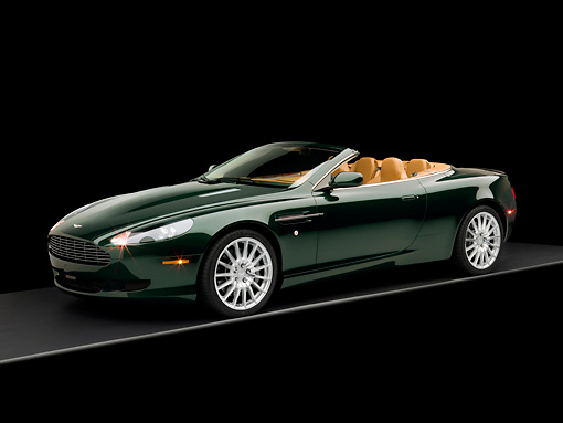 AUT 06 RK0091 02 © Kimball Stock 2006 Aston Martin DB9 Volante Convertible Gillies Green 3/4 Side View