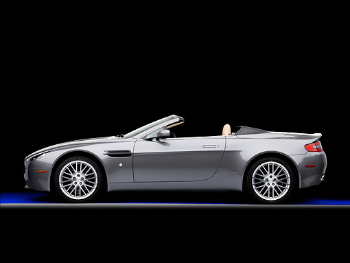 AUT 06 RK0123 01 © Kimball Stock 2009 Aston Martin Vantage Roadster Gray Profile View Studio