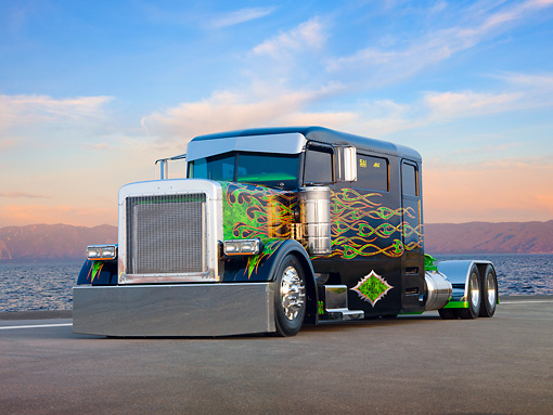 AUT 07 BK0002 01 © Kimball Stock 2002 Peterbilt 379 Big Rig Black With Green Flames 3/4 Front View On Pavement By Water And Sunset