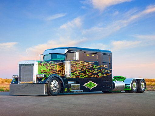 AUT 07 BK0003 01 © Kimball Stock 2002 Peterbilt 379 Big Rig Black With Green Flames 3/4 Front View On Pavement