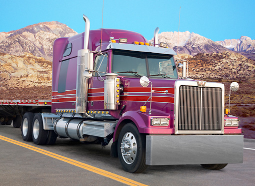 AUT 07 BK0005 01 © Kimball Stock Western Star Big Rig Purple With Red Stripes 3/4 Front View On Road By Mountains
