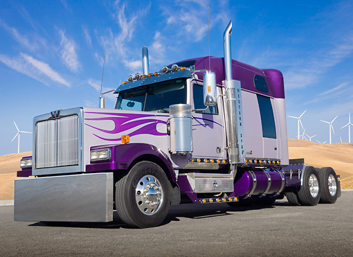 AUT 07 BK0006 01 © Kimball Stock Western Star Big Rig Purple With Flames 3/4 Front View On Pavement By Windmills