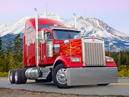 AUT 07 BK0007 01 © Kimball Stock Kenworth Big Rig Red With Yellow Flames 3/4 Front View On Road By Snowy Mountains
