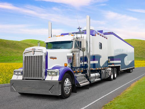 AUT 07 BK0009 01 © Kimball Stock 1999 Kenworth W900 Big Rig White And Purple 3/4 Front View On Road By Grassy Hills