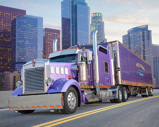 AUT 07 BK0020 01 © Kimball Stock 1999 Kenworth W900L Purple 3/4 Front View By City