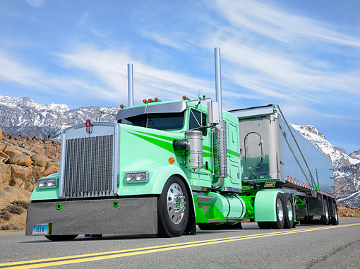 AUT 07 BK0023 01 © Kimball Stock 2003 Kenworth W900 Double Mint Green 3/4 Front View By Mountains