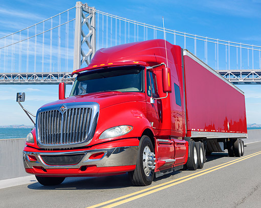 AUT 07 BK0030 01 © Kimball Stock 2010 International Pro Star Red 3/4 Front View By Bridge