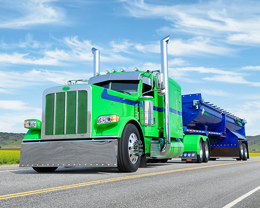 AUT 07 BK0038 01 © Kimball Stock 2015 Peterbilt 389 Green And Blue 3/4 Front View By Hills