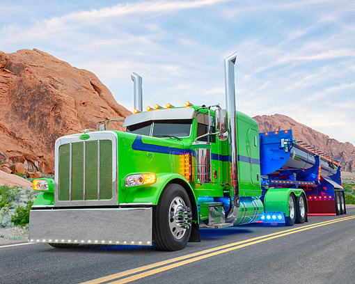 AUT 07 BK0039 01 © Kimball Stock 2015 Peterbilt 389 Green And Blue 3/4 Front View In Desert