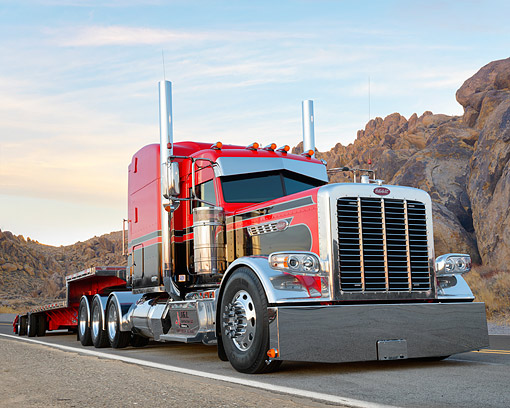 AUT 07 BK0040 01 © Kimball Stock 2015 Peterbilt 389 Red And Black 3/4 Front View In Desert