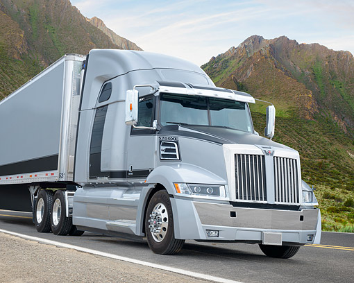 AUT 07 BK0049 01 © Kimball Stock 2017 Western Star 5700XE Gray 3/4 Front View By Mountains