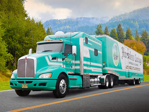 AUT 07 RK0062 01 © Kimball Stock 2008 Kenworth T-660 Custom Green And White 3/4 Front View On Road By Trees