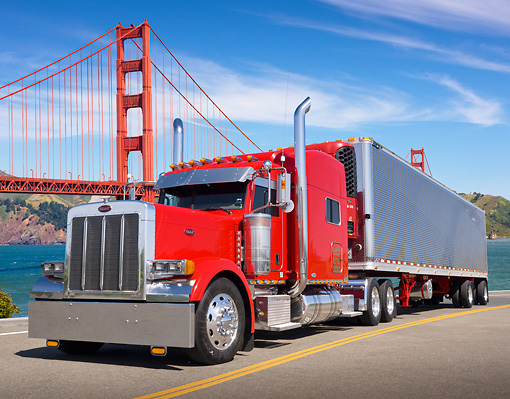 AUT 07 RK0087 01 © Kimball Stock 2007 Peterbilt 379 Semi Red 3/4 Front View On Road By Golden Gate Bridge