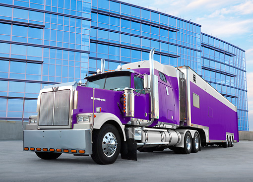 AUT 07 RK0181 01 © Kimball Stock Western Star Big Rig Purple 3/4 Front View On Pavement By Glass Building