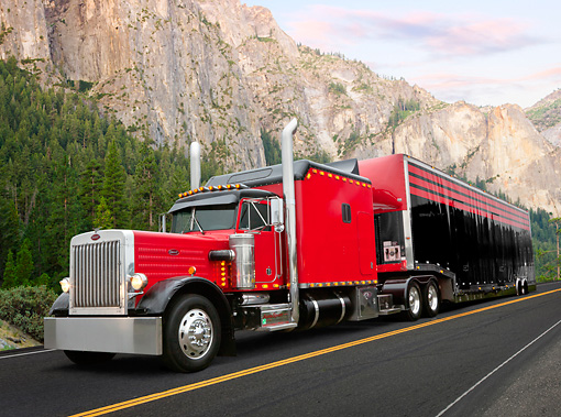 AUT 07 RK0188 01 © Kimball Stock 1987 Peterbilt 359 Red 3/4 Front View On Road By Rocky Cliffside