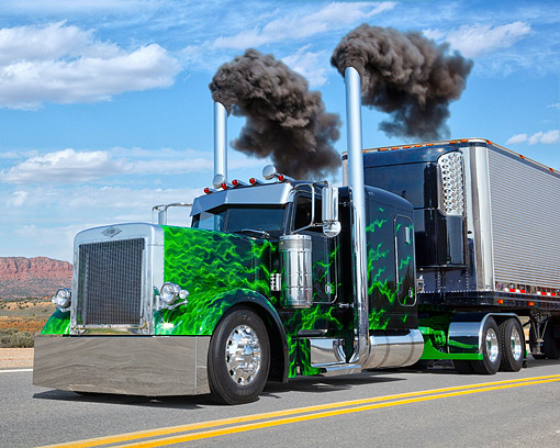 AUT 07 RK0220 01 © Kimball Stock 2003 Peterbilt 379 Black With Green Flames 3/4 Front View On Road In Desert