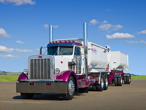 AUT 07 RK0350 01 © Kimball Stock 1987 Peterbilt 359 White And Purple 3/4 Front View On Pavement