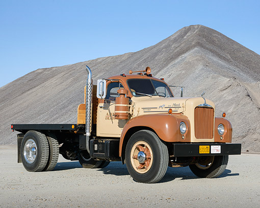 AUT 07 RK0440 01 © Kimball Stock 1958 Mack B-63 Tan 3/4 Front View On Gravel By Gravel Piles
