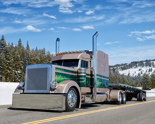 AUT 07 RK0446 01 © Kimball Stock 1997 Peterbilt 379 Mocha Pearl And Green 3/4 Front View On Road In Snowy Mountains
