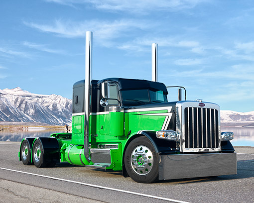 AUT 07 RK0457 01 © Kimball Stock 2012 Peterbilt 388 Black And Green 3/4 Front View On Road By Mountains