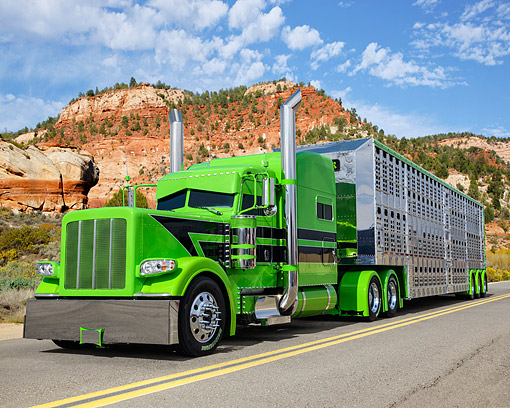 AUT 07 RK0494 01 © Kimball Stock 2014 Peterbilt Green With Livestock Trailer 3/4 Front View On Desert Road