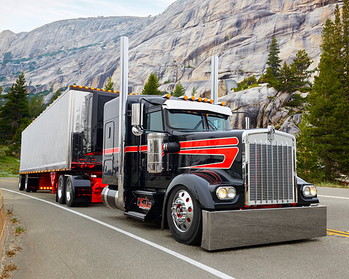 AUT 07 RK0499 01 © Kimball Stock 2014 Kenworth W900L Black And Red 3/4 Front View On Moutain Road
