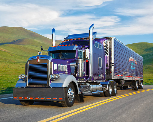 AUT 07 RK0507 01 © Kimball Stock 1999 Kenworth W900L With Custom Vents Purple 3/4 Front View On Road By Grassy Hills