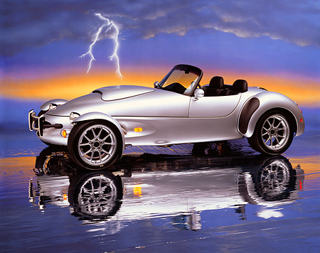 AUT 08 RK0007 04 © Kimball Stock 1999 Panoz AIV Roadster Silver 3/4 Side View On Mylar Floor Lightning Studio