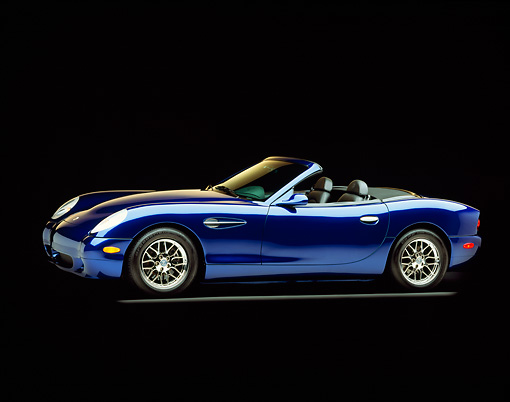 AUT 08 RK0017 06 © Kimball Stock 2000 Panoz Esperante Prototype Blue 3/4 Side View On Gray Line Studio