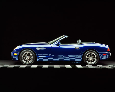 AUT 08 RK0020 04 © Kimball Stock 2000 Panoz Esperante Prototype Blue Profile View On Checkered Line Studio