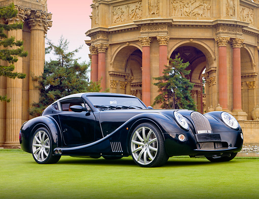 AUT 09 BK0022 01 © Kimball Stock Morgan Aero SuperSports Black 3/4 Front View On Grass By Palace Of Fine Arts San Francisco