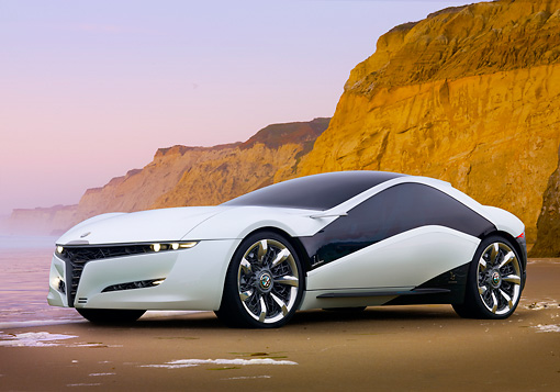 AUT 09 BK0024 01 © Kimball Stock Alfa Romeo Pandion Concept Black And White 3/4 Front View On Beach By Cliffs