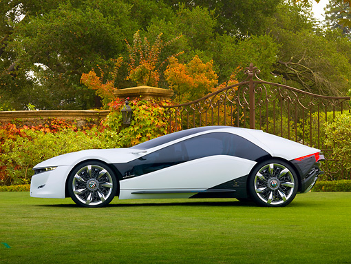 AUT 09 BK0027 01 © Kimball Stock Alfa Romeo Pandion Concept Black And White Profile View On Grass By Gate And Autumn Trees